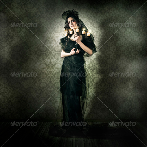 Black Fashion Model In Dark Vintage Haunted House - Stock Photo - Images