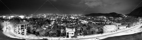 Brasov, Romania - Winter Panorama - Stock Photo - Images