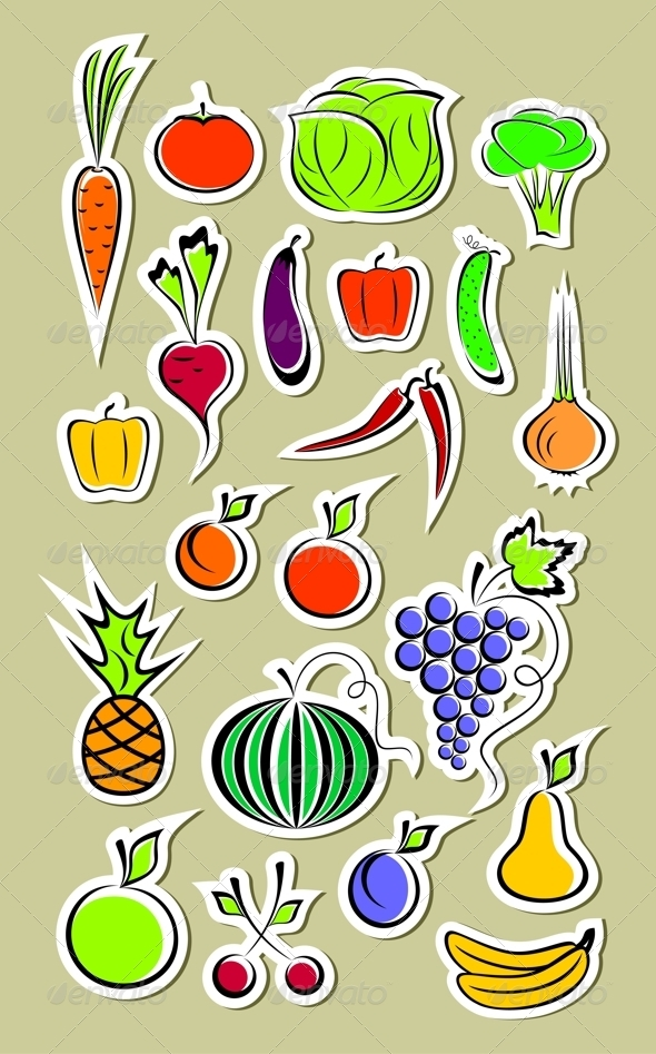 GraphicRiver Stickers of Vegetables and Fruits 3899306