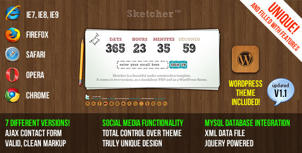 Sketcher Under Construction Template + WP Theme - Theme preview.