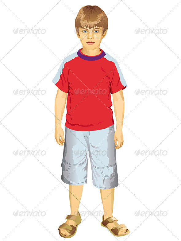 GraphicRiver Little Boy Standing Vector Illustration 3901543