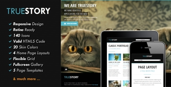 ThemeForest TrueStory Fullscreen HTML5 Template 3902394