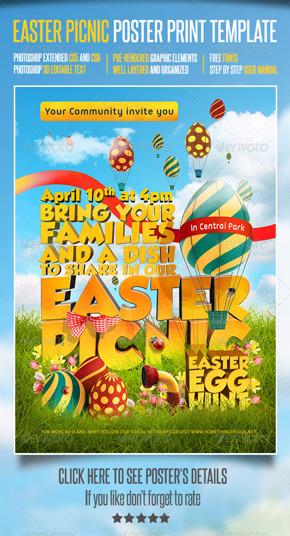 GraphicRiver Easter Picnic Poster Print Template 3820896