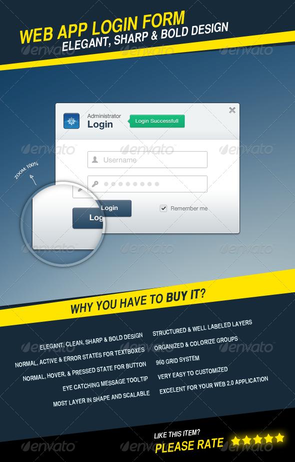 Web App Login Form - Forms Web Elements