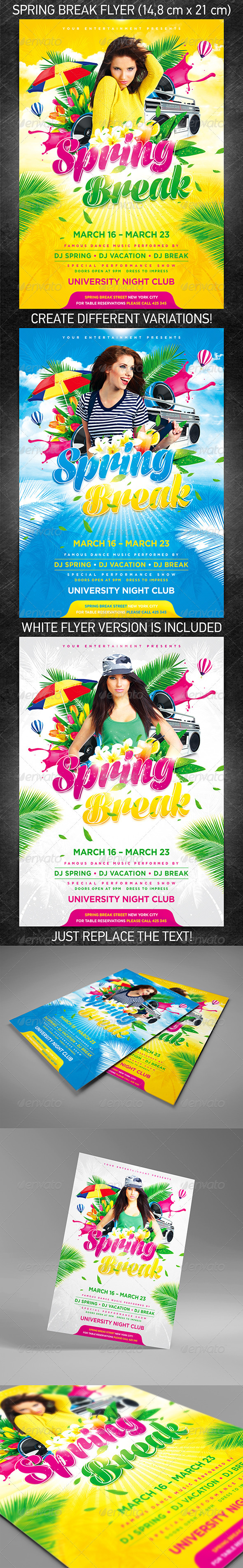 GraphicRiver Spring Break Party Flyer 3902915