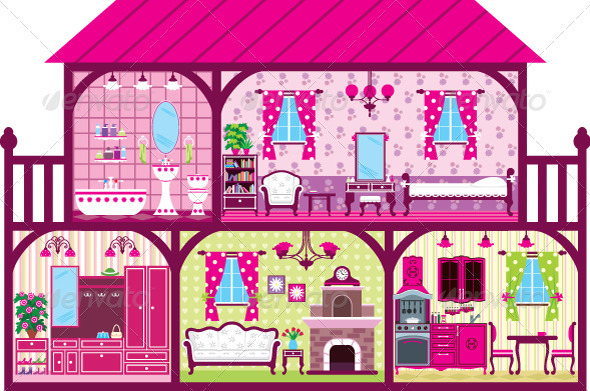 GraphicRiver House for the Girl in a Cut in Pink 3903223