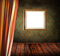 Empty old grunge room with empty golden frame - PhotoDune Item for Sale