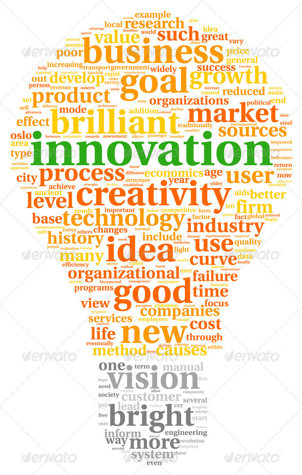 Innovation and technology concept  in tag cloud - Stock Photo - Images