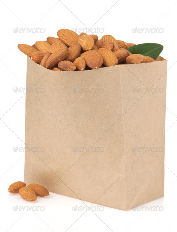 PhotoDune nuts almond on white 3905687