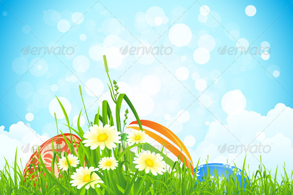 GraphicRiver Easter Eggs in the Grass 3905684