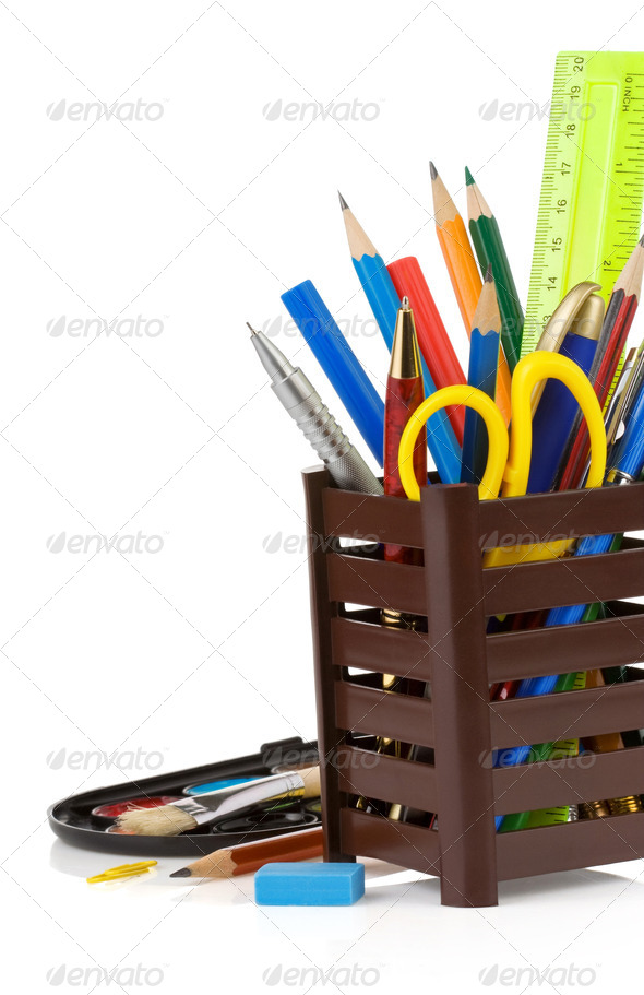 PhotoDune holder basket and school supplies isolated on white 3905708
