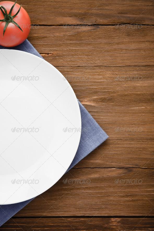 PhotoDune plate at napkin on wood 3905714
