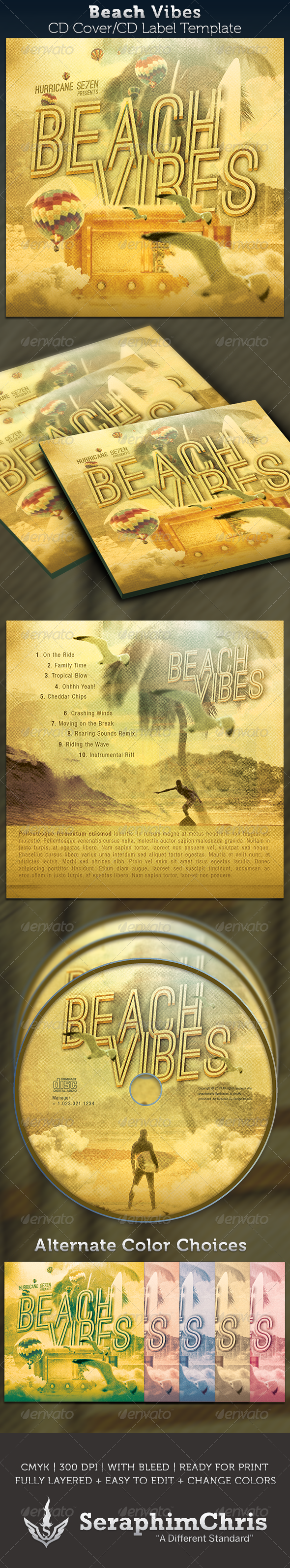 Beach Vibes CD Cover Artwork Template - CD & DVD Artwork Print Templates