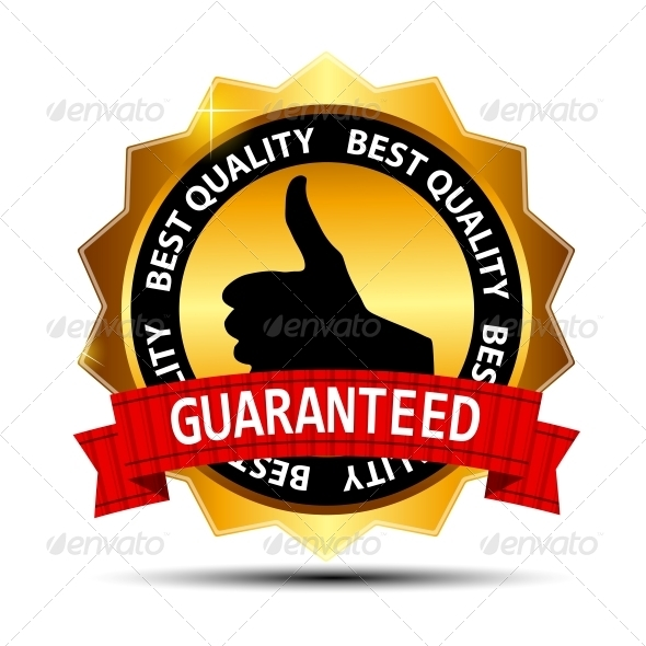 GraphicRiver Best Quality Guaranteed Gold Label with Red Ribbon 3906515