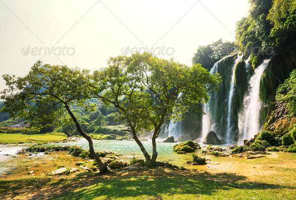 Waterfall in Vietnam - Stock Photo - Images