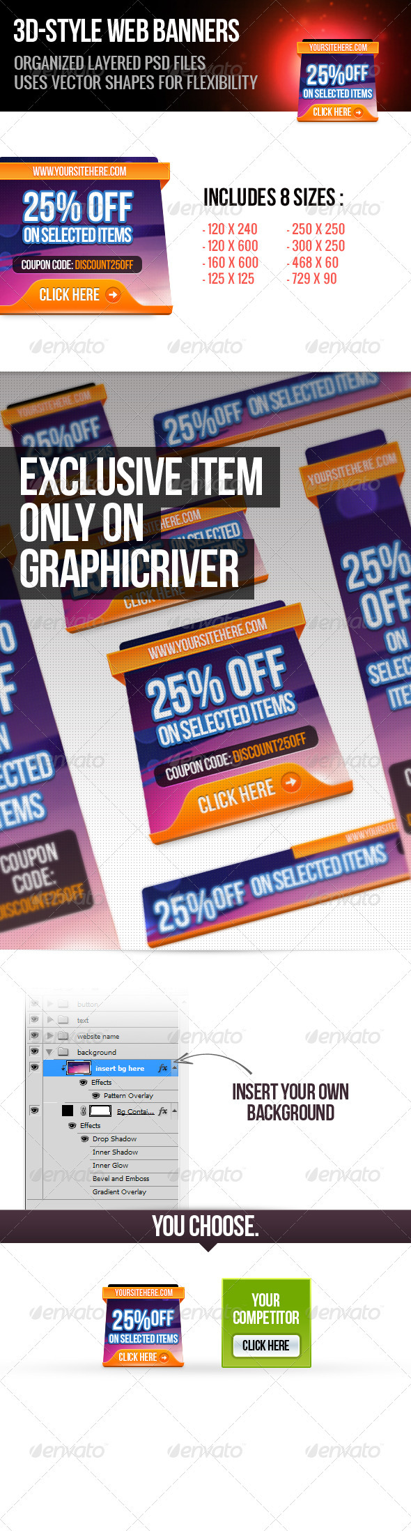 3d Web Banners - Banners & Ads Web Elements