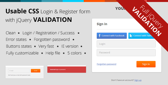 CodeCanyon CSS Login & Register Form with jQuery Validation 3907339