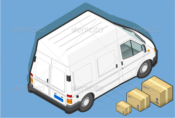 GraphicRiver Isometric White Van and Some Packs 3907677