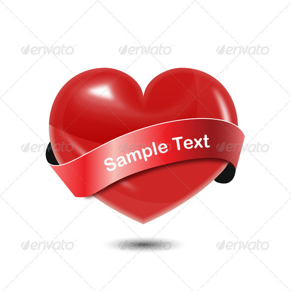 GraphicRiver Heart with Ribbon 3907995