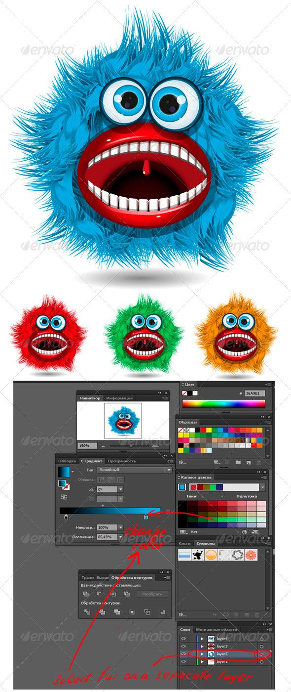 GraphicRiver blue monster 3908668