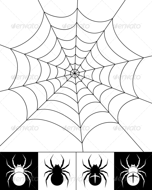 GraphicRiver Spiders and web 3908708