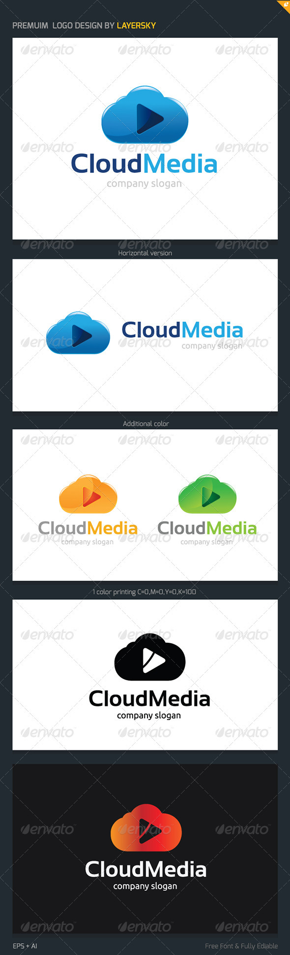 GraphicRiver Cloud Media Logo 3908709