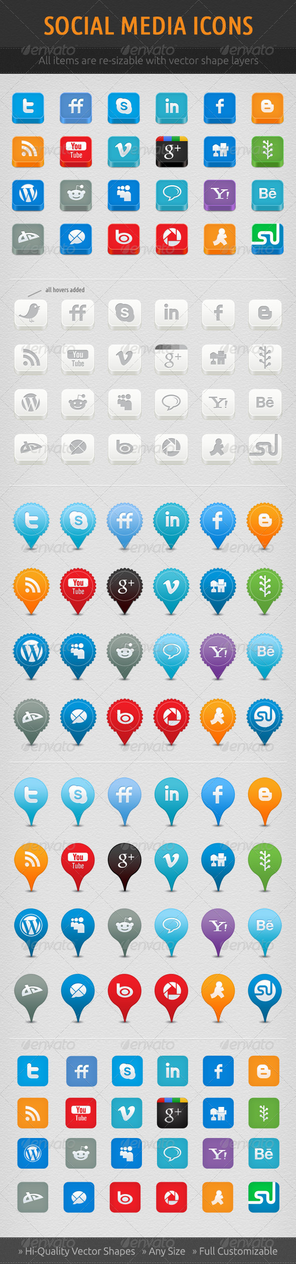Social Network Icon Set - Web Icons