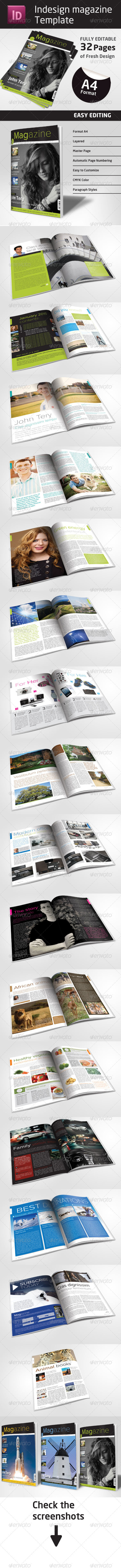 32 Pages Indesign Magazine Template in A4 Format - Magazines Print Templates