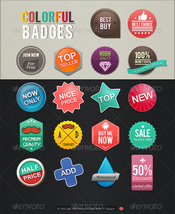 Colorful Badges - Badges & Stickers Web Elements