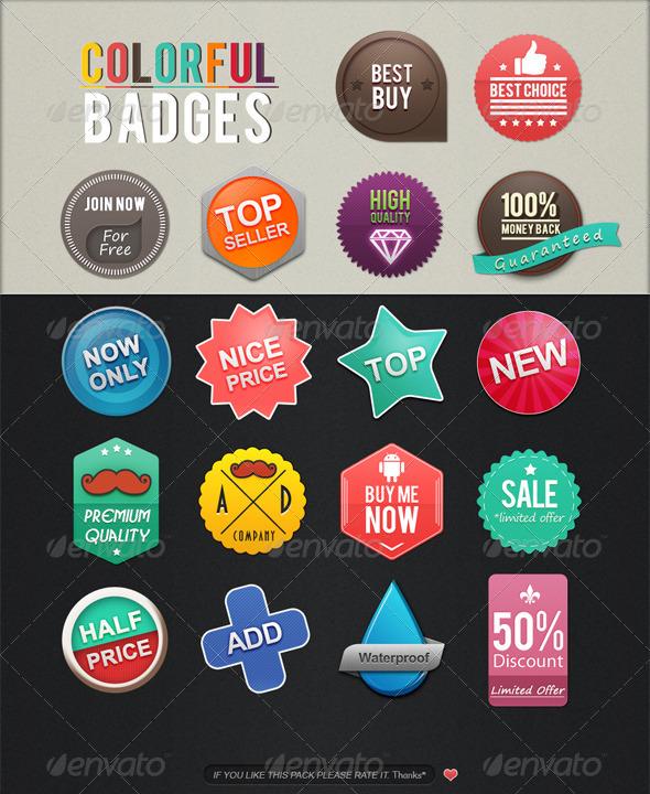 Colorful Badges - Badges & Stickers Web Elements