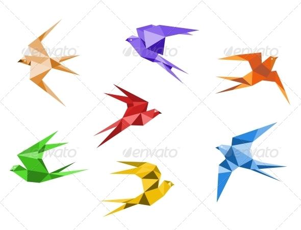 GraphicRiver Origami swallows 3909545
