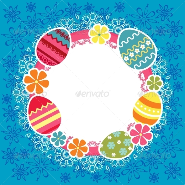 GraphicRiver Easter frame with eggs and flowers 3909688
