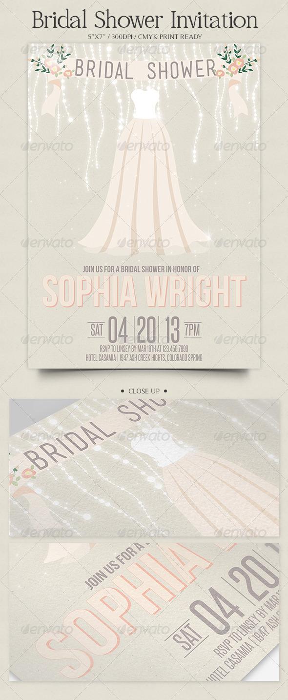 GraphicRiver Romantic Bridal Shower Invitation 3909975