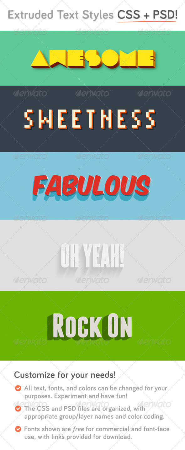 GraphicRiver Extruded CSS Type Styles &PSD 3910003