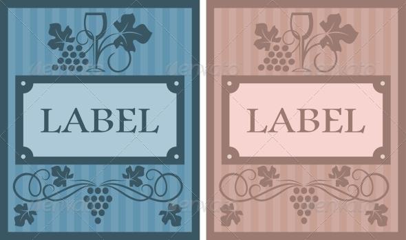 GraphicRiver Wine labels in retro style 3910044