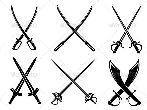 Swords sabres and longswords set