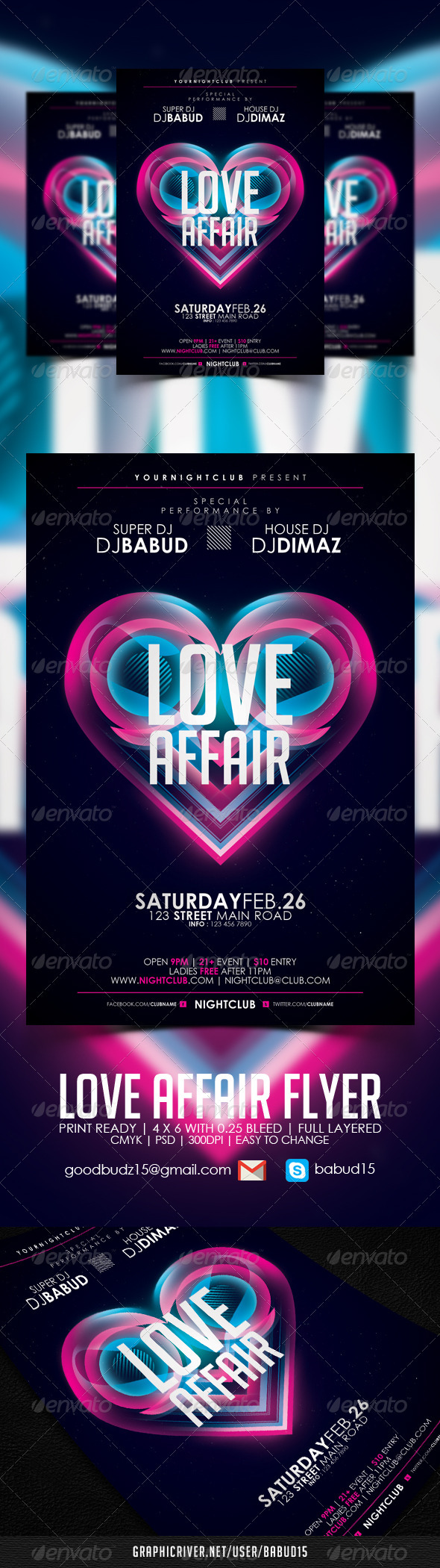 GraphicRiver Love Affair Flyer Template 3910076