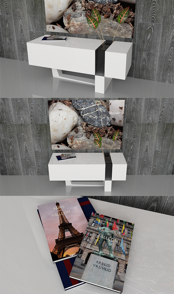 3DOcean Modern Sideboard with Books Vase Plants & Frame 3910258
