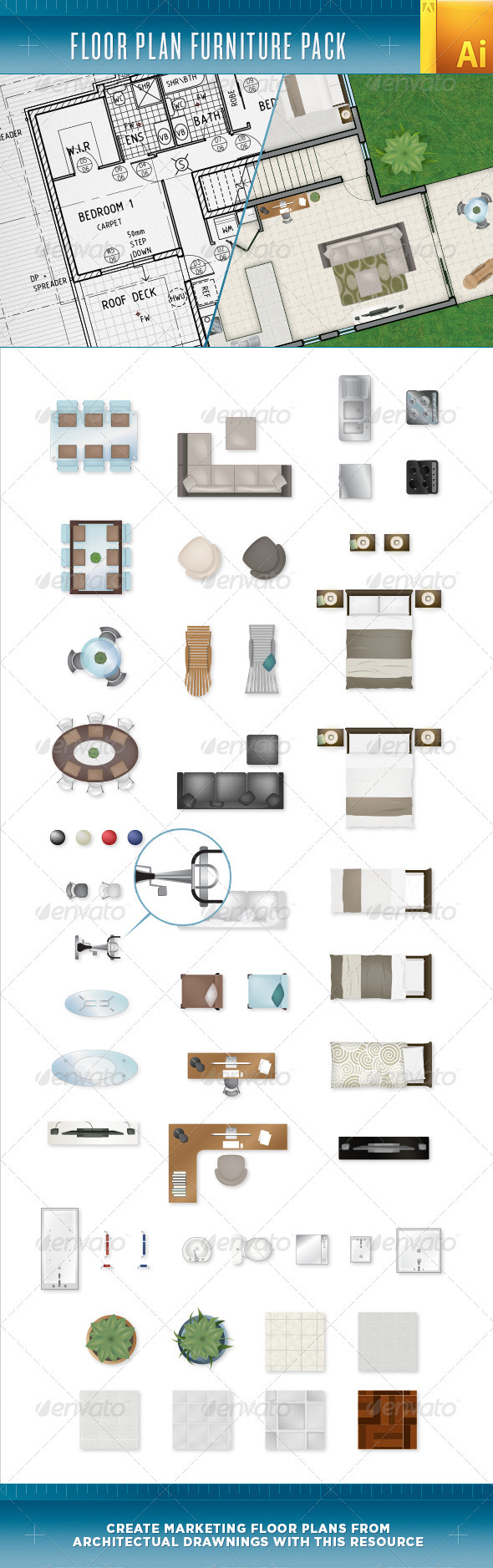 GraphicRiver Floor Plan Furniture Pack 3793645