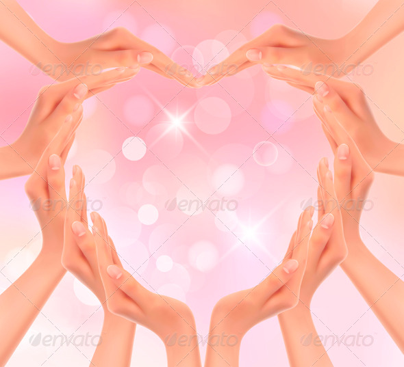 Hands making a heart Valentines day background