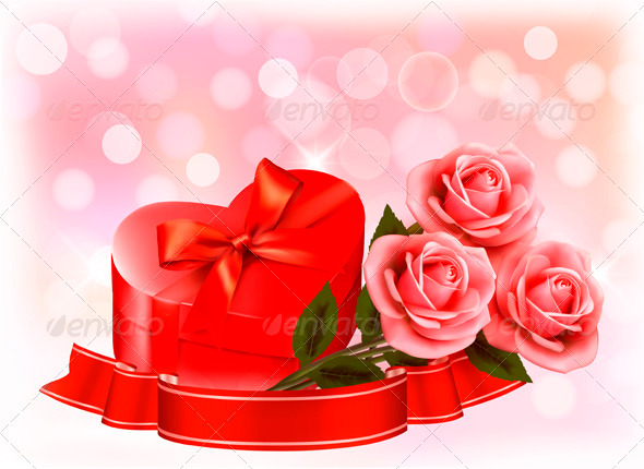 GraphicRiver Valentines day background Three red roses with red 3910781