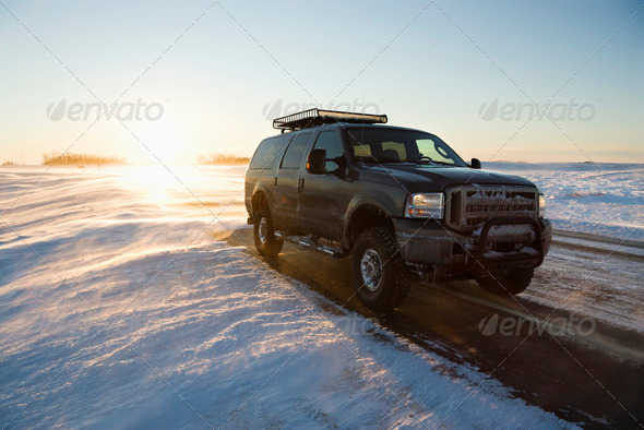 Truck on icy road - Stock Photo - Images
