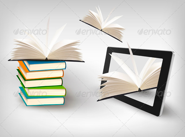 GraphicRiver Books Flying in a Tablet Vector Illustration 3910831