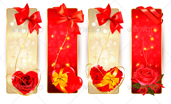 GraphicRiver Set of Beautiful Cards with Red Gift Bows 3911012