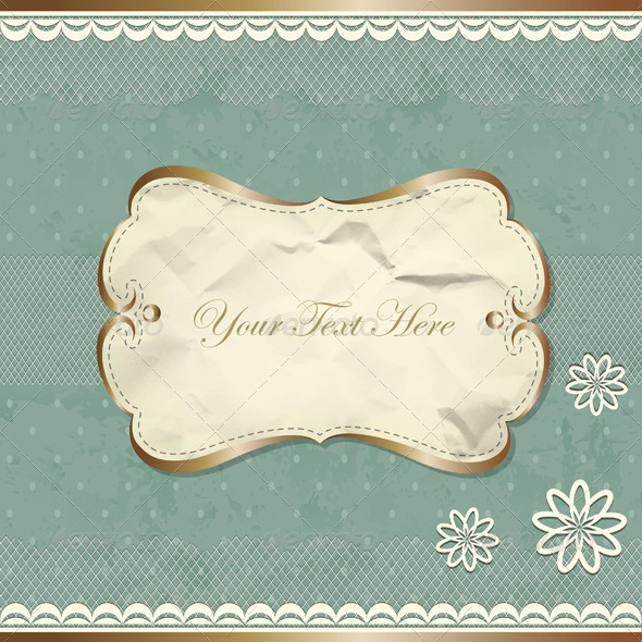 GraphicRiver Vintage Border With Lace And Flowers 3911027
