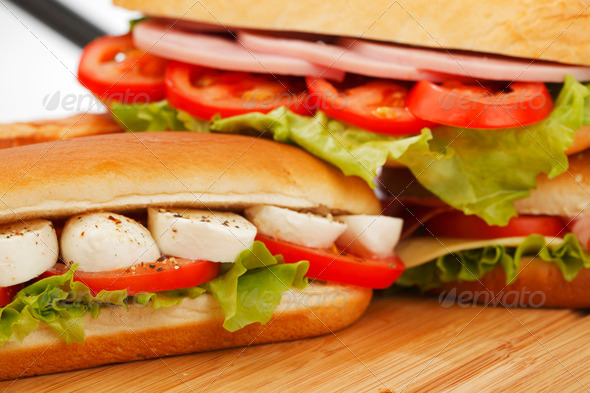 pile of sandwiches close - Stock Photo - Images