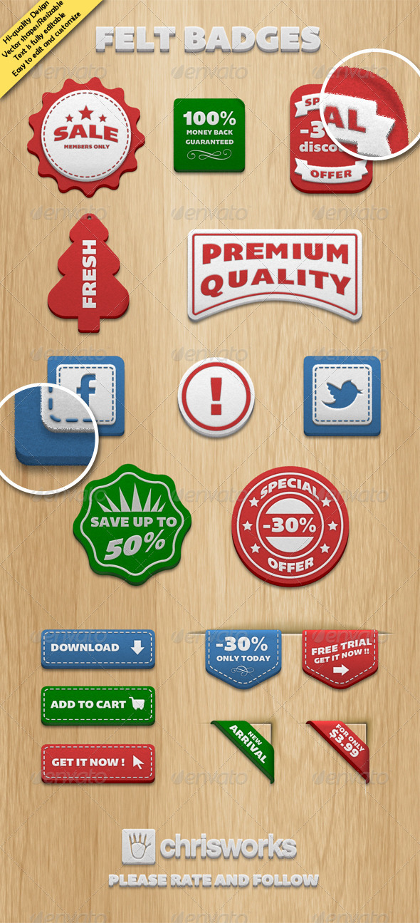 GraphicRiver Felt Badges 3914128