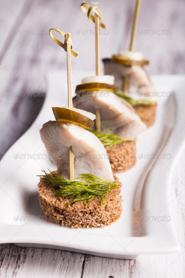 Herring canape - Stock Photo - Images
