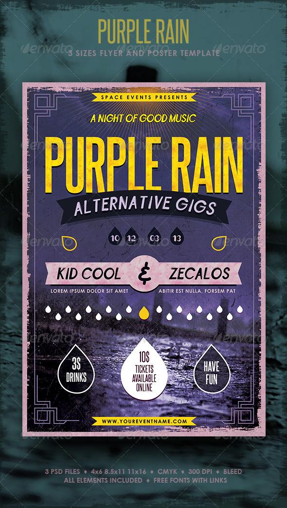 GraphicRiver Purple Rain Poster and Flyer 3915032
