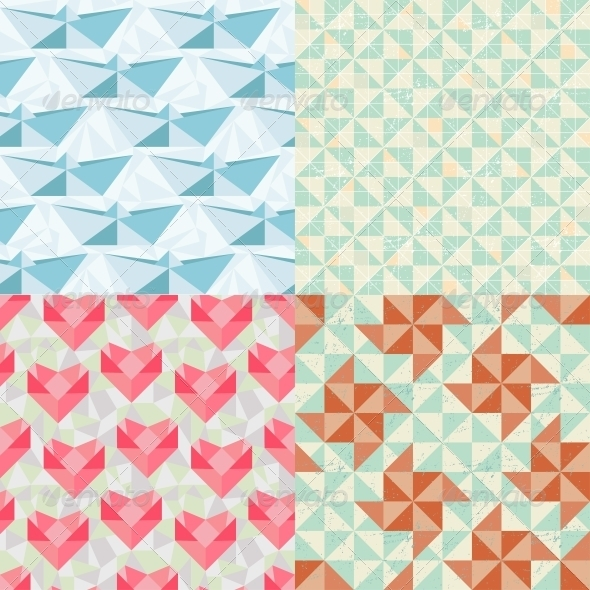 GraphicRiver Seamless Geometric Patterns with Origami Elements 3915141